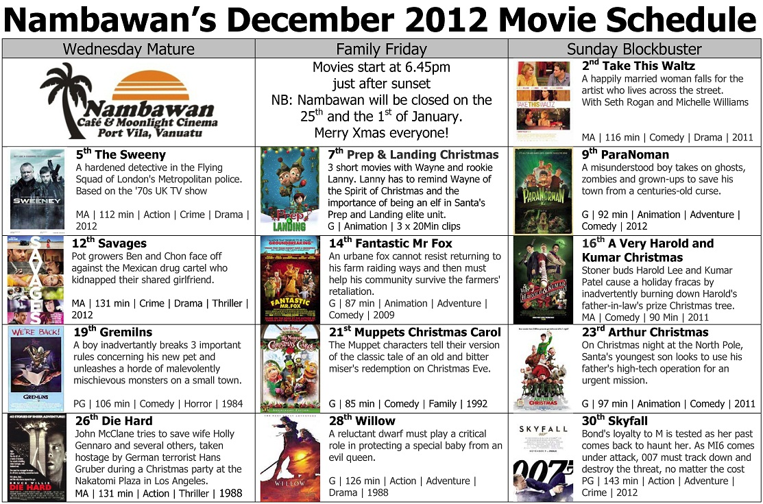 Nambawan Cafe | December Movie Schedule