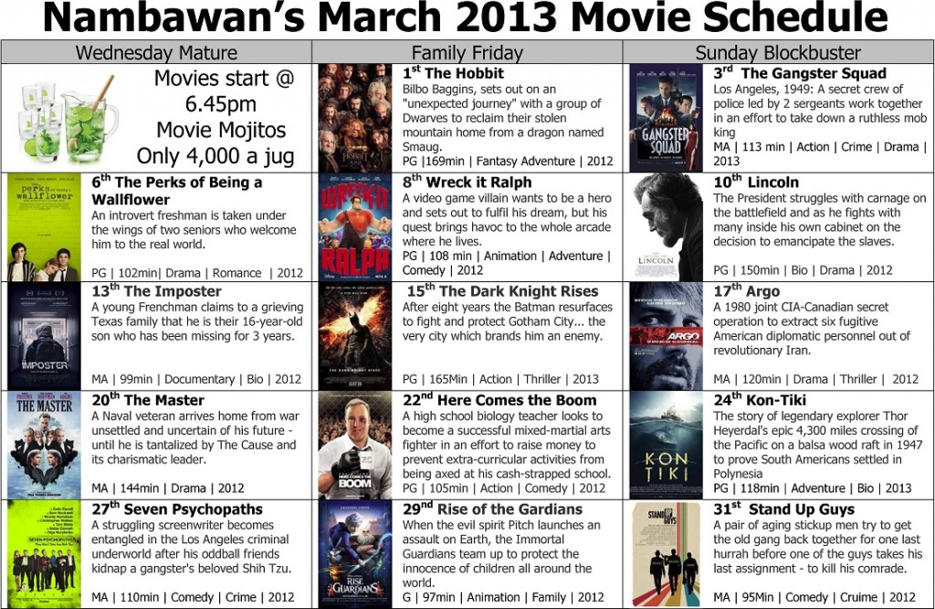 March Movie Schedule