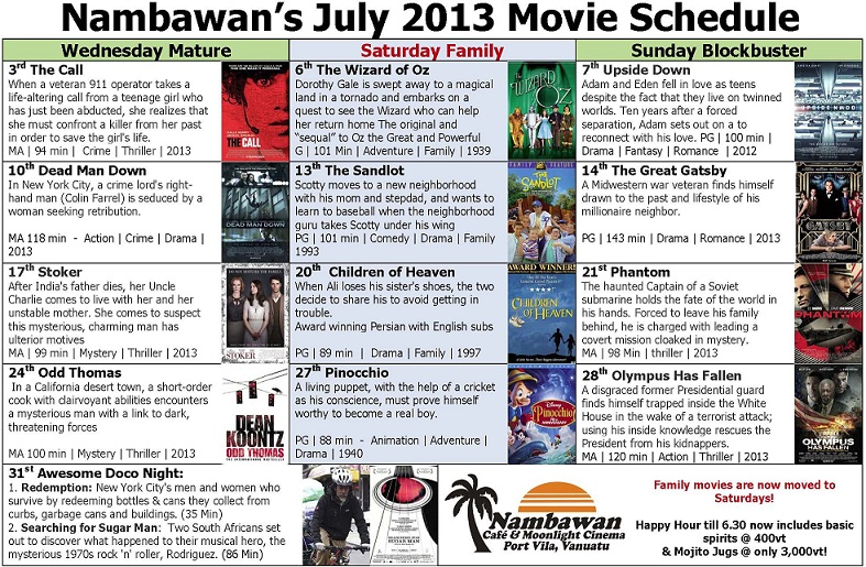 Nambawan July Movie Schedule 2013